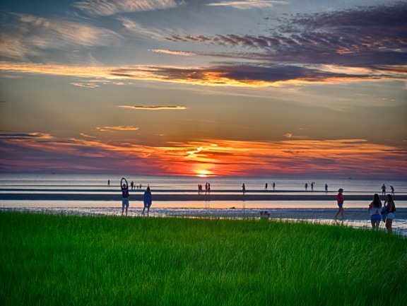 Sunset at First Encounter Beach in Eastham, MA. In 1620 a hunting expedition from the Mayflower landed and met with the Nauset Tribe.
