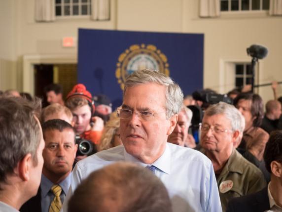 Jeb Bush campaigns in Peterborough, NH